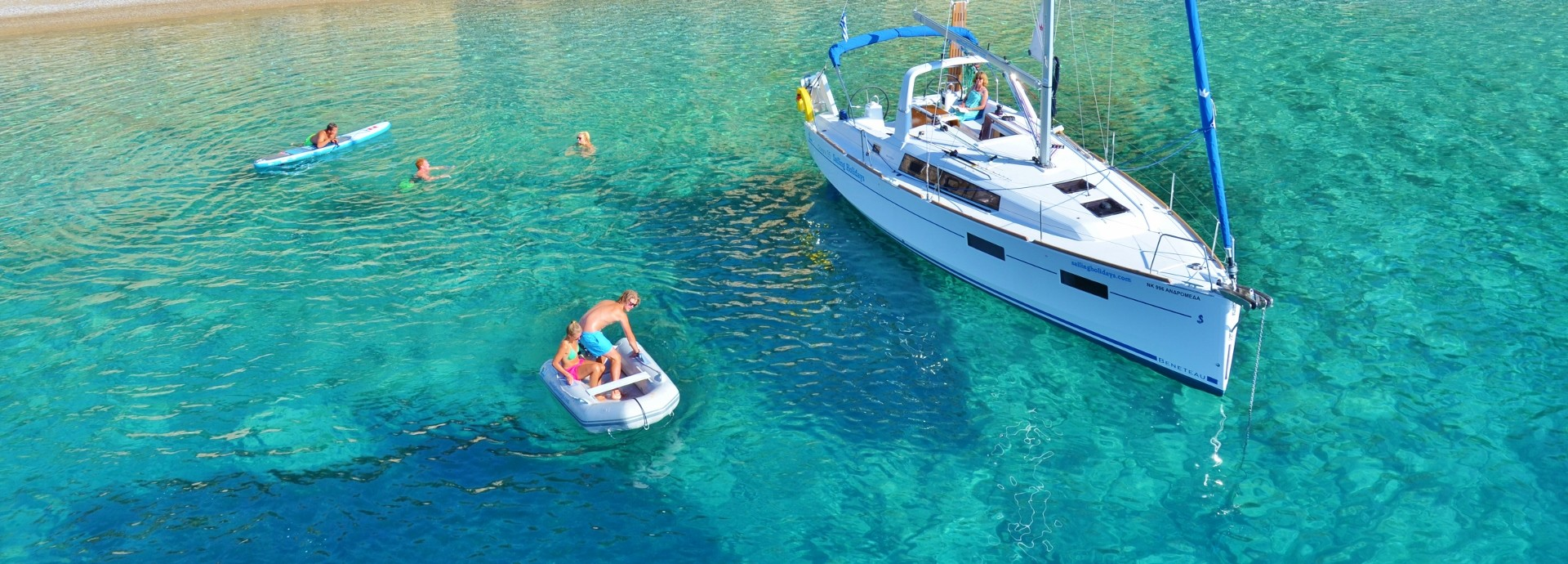 Beneteau 35 anchored in a bay on Kastus Island