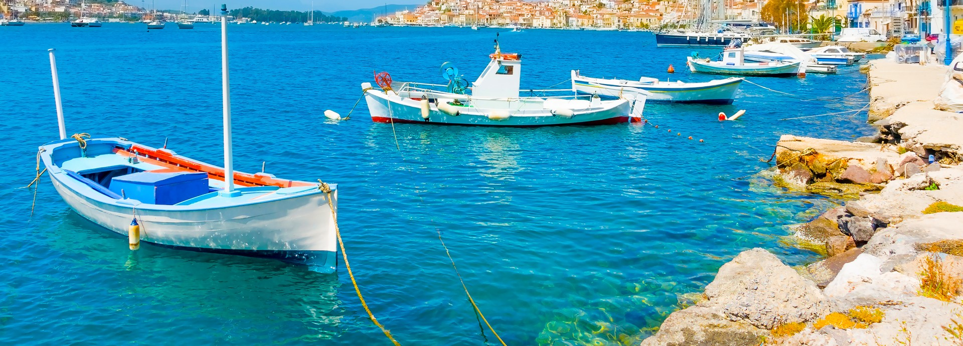 Traditional fishing boats in Poros