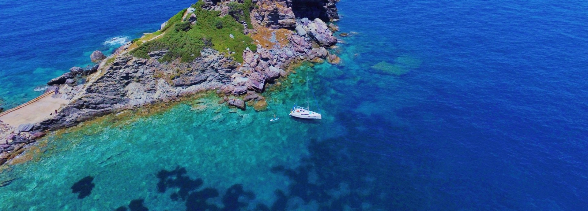 Anchored below the Mamma Mia church on Skopelos Island