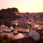 Parga town by night