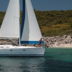 Beneteau 393 Sailing past Greek Mainland