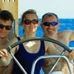 Ben, Chris and Mike sailing - whole family at the helm!