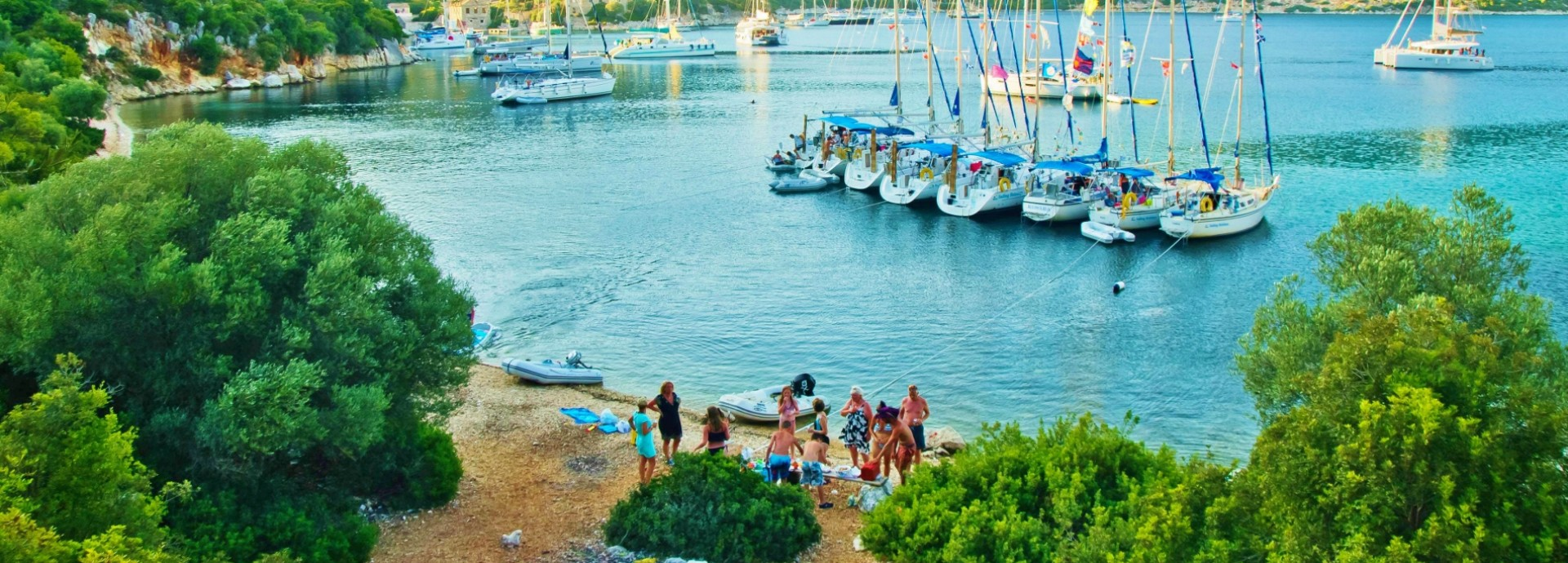 John Green's beach party in Port Leone, Kalamos Island, South Ionian