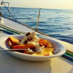 Sunrise breakfast on board in the Saronic Islands