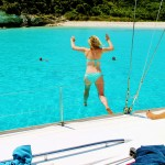 Ella & Rose jumping in - Emerald Bay - Anti Paxos