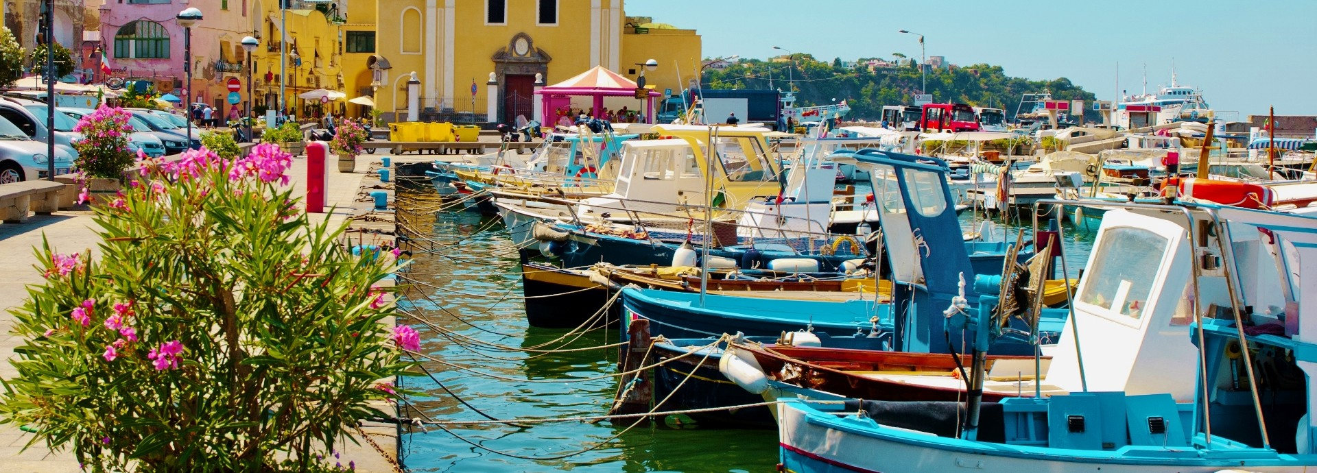 Fishing boats on Procida Island in the Bay of Naples