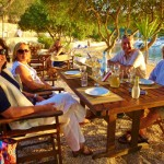 Pre-dinner drinks at the taverna in Mongonisi, Paxos Island