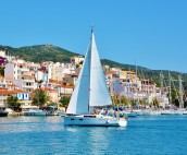 Sailing past Skiathos Town