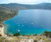 Birds eye view of Dhokos Bay,Saronic islands