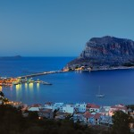 Monemvasia Medieval castle at night