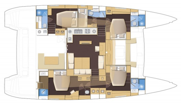 Lagoon 560 Five Cabin Deck Plan