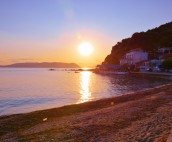 Sunset from the beach in Loutraki on Skopelos Island