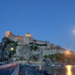 Aragonese castle by night on Ischia