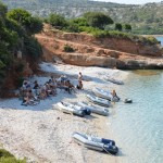 Briefing on the beach in the Sporades