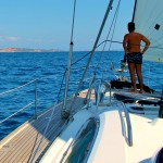 Sailing to Budelli, past Spagi in Sardinia, Italy