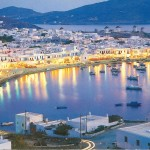 Naxos Town by night, Mykonos