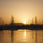 Sunset over yachts in harbour - Balearics