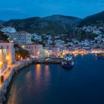 Hydra town night view