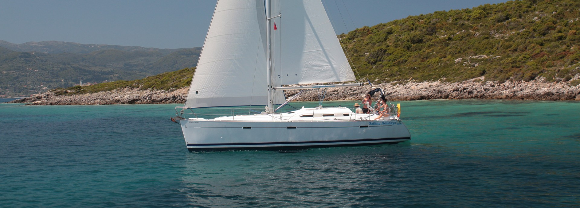 Beneteau 393 Sailing past Greek Mainland 2