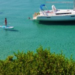 Anchored in a bay on Skopelos Island - Swimming and SUPing