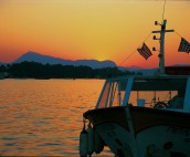 Sunset over the sleeping lady in Poros