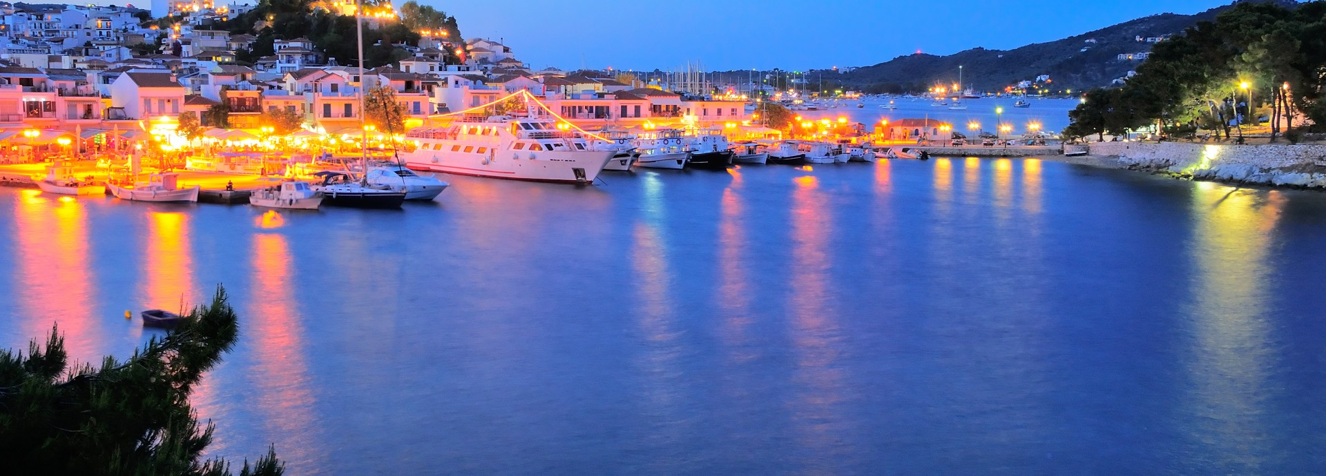 Skiathos town at night