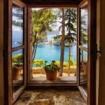 Window view from the fort in Parga