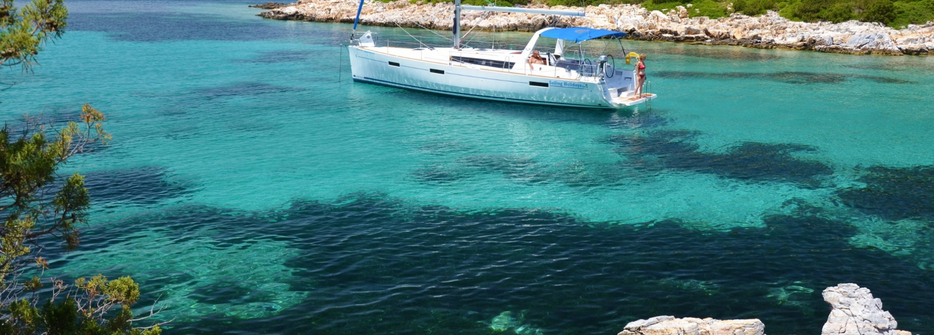 Beneteau 45 anchored in the Sporades