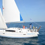 Beneteau 40 sailing past Corfu